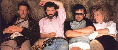 Ford, Lucas, Spielberg y Capshaw en momento relax